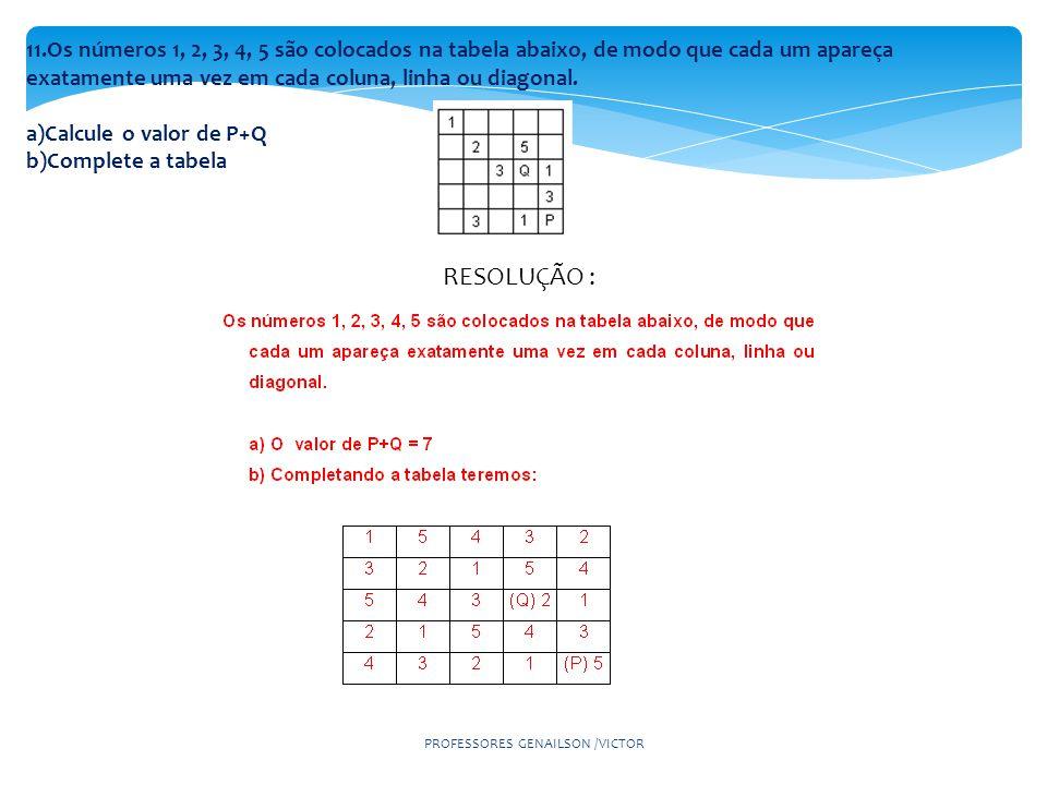 11.Os números 1, 2, 3, 4, 5 são colocados na tabela abaixo, de modo que cada um apareça exatamente uma vez em cada coluna, linha ou diagonal.