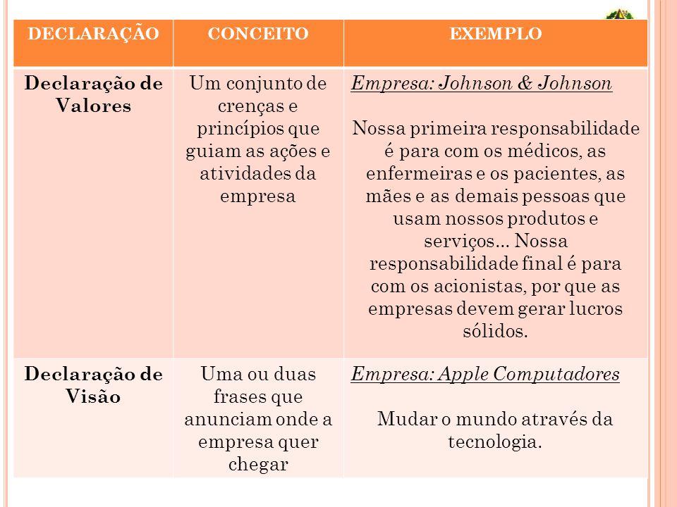 DECLARAÇÃOCONCEITOEXEMPLO Declaração de Valores Um conjunto de crenças e princípios que guiam as ações e atividades da empresa Empresa: Johnson & John