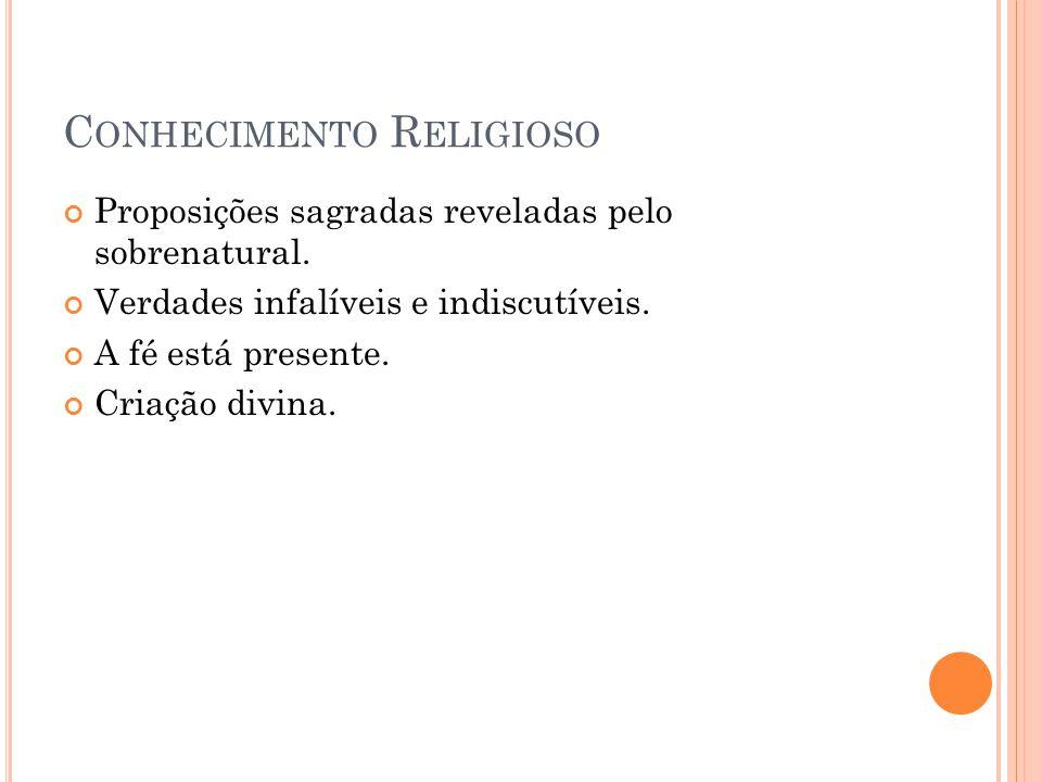 C ONHECIMENTO R ELIGIOSO Proposições sagradas reveladas pelo sobrenatural.