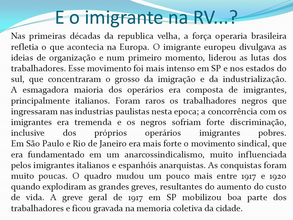 E o imigrante na RV...? Nas primeiras décadas da republica velha, a força operaria brasileira refletia o que acontecia na Europa. O imigrante europeu