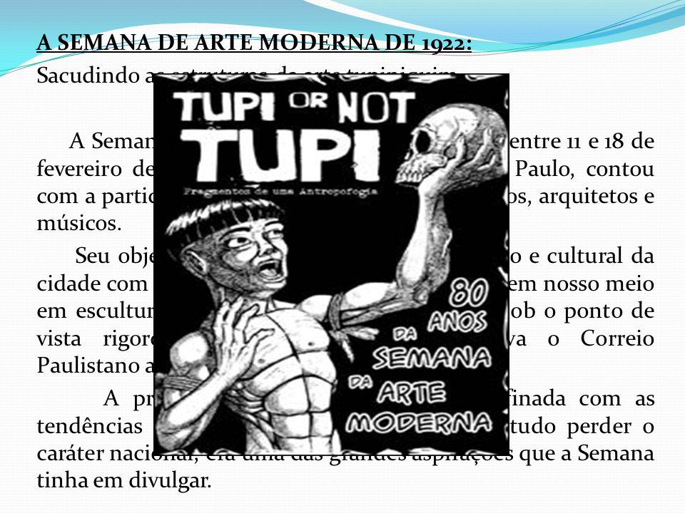 A SEMANA DE ARTE MODERNA DE 1922: Sacudindo as estruturas da arte tupiniquim... A Semana de Arte Moderna de 22, realizada entre 11 e 18 de fevereiro d