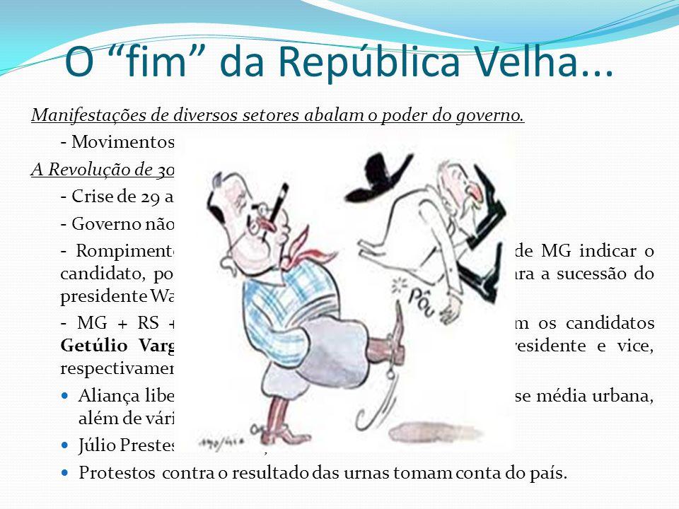 O fim da República Velha... Manifestações de diversos setores abalam o poder do governo. - Movimentos operário e tenentista. A Revolução de 30: - Cris