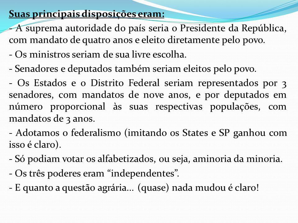 Suas principais disposições eram: - A suprema autoridade do país seria o Presidente da República, com mandato de quatro anos e eleito diretamente pelo