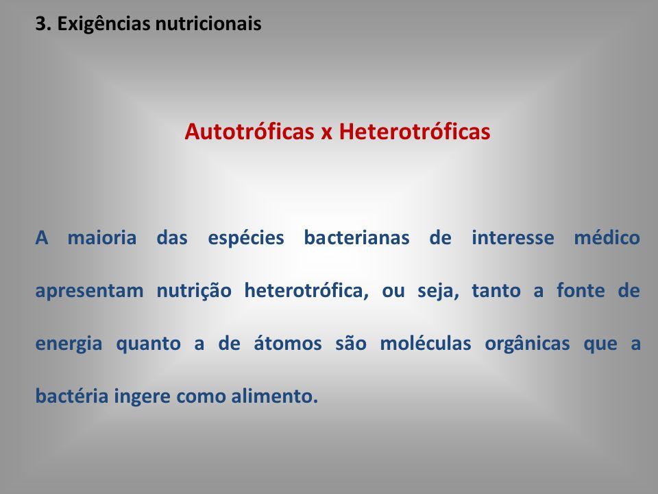 3. Exigências nutricionais Autotróficas x Heterotróficas A maioria das espécies bacterianas de interesse médico apresentam nutrição heterotrófica, ou