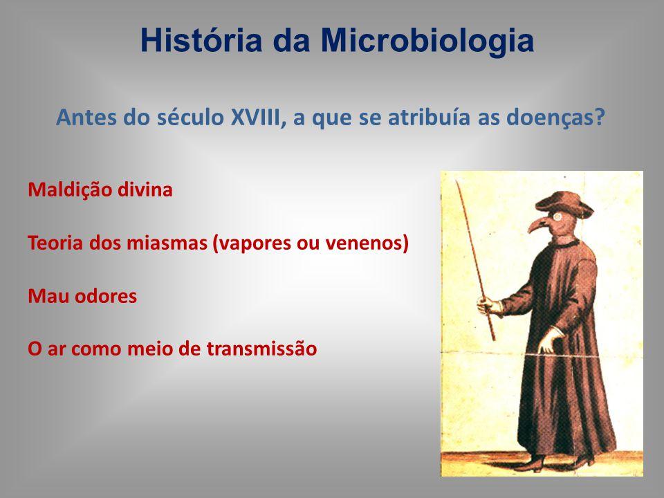 História da Microbiologia Maldição divina Teoria dos miasmas (vapores ou venenos) Mau odores O ar como meio de transmissão Antes do século XVIII, a qu