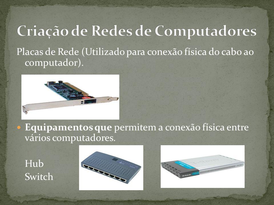 Placas de Rede (Utilizado para conexão física do cabo ao computador).
