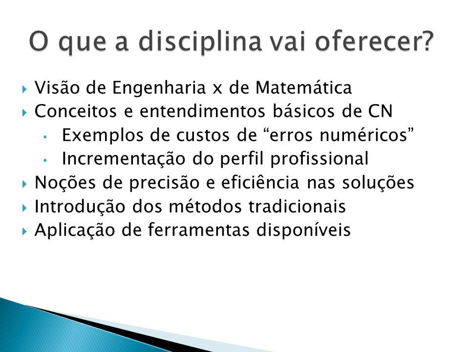 Visão de Engenharia x de Matemática Conceitos e entendimentos básicos de CN Exemplos de custos de erros numéricos Incrementação do perfil profissional