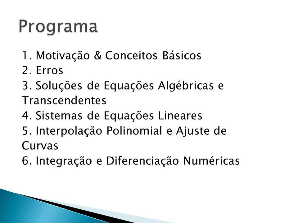 1. Motivação & Conceitos Básicos 2. Erros 3. Soluções de Equações Algébricas e Transcendentes 4. Sistemas de Equações Lineares 5. Interpolação Polinom