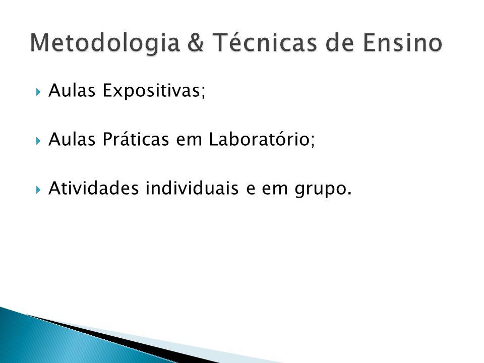 Aulas Expositivas; Aulas Práticas em Laboratório; Atividades individuais e em grupo.
