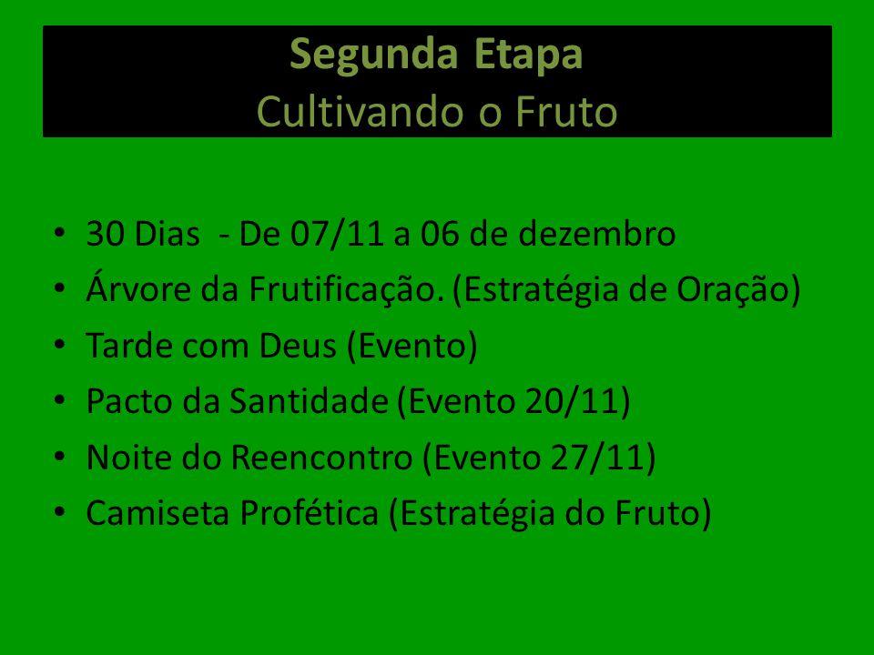 Segunda Etapa Cultivando o Fruto 30 Dias - De 07/11 a 06 de dezembro Árvore da Frutificação. (Estratégia de Oração) Tarde com Deus (Evento) Pacto da S