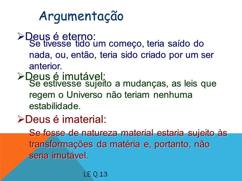 Deus é eterno: Deus é eterno: Argumentação Se tivesse tido um começo, teria saído do nada, ou, então, teria sido criado por um ser anterior.