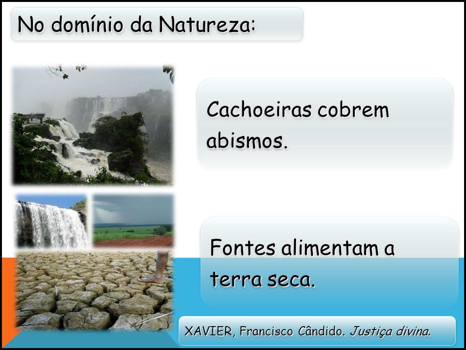 Cachoeiras cobrem abismos.No domínio da Natureza: Fontes alimentam a terra seca.