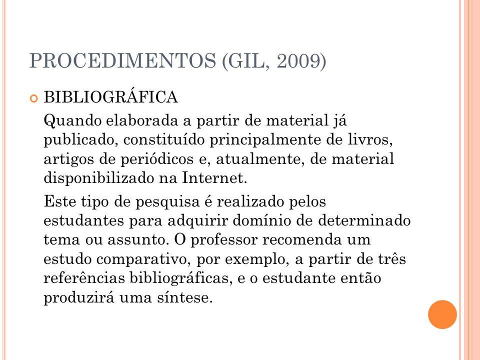 PROCEDIMENTOS (GIL, 2009) BIBLIOGRÁFICA Quando elaborada a partir de material já publicado, constituído principalmente de livros, artigos de periódico