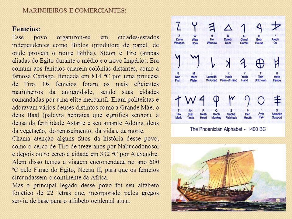 Fenícios: Esse povo organizou-se em cidades-estados independentes como Biblos (produtora de papel, de onde provém o nome Bíblia), Sídon e Tiro (ambas
