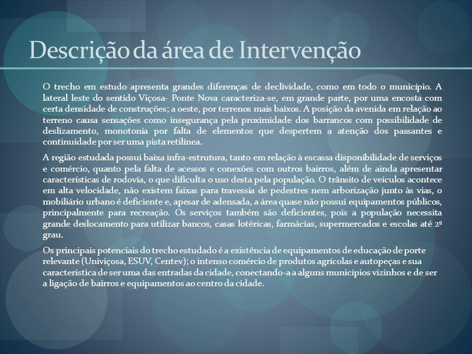 Descrição da área de Intervenção O trecho em estudo apresenta grandes diferenças de declividade, como em todo o município. A lateral leste do sentido