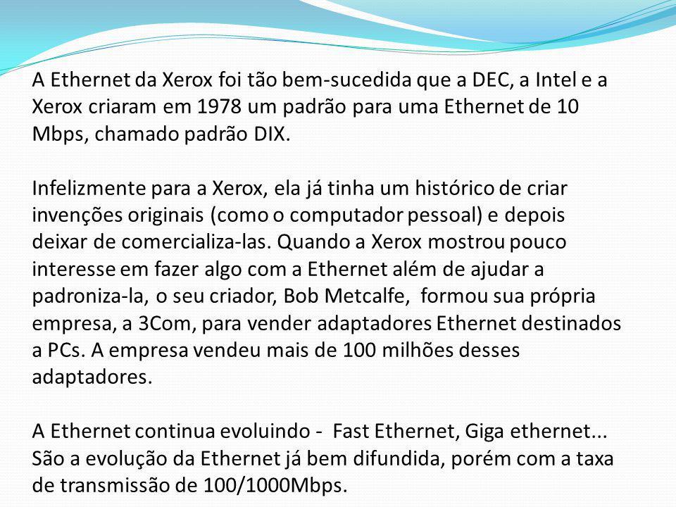 A Ethernet da Xerox foi tão bem-sucedida que a DEC, a Intel e a Xerox criaram em 1978 um padrão para uma Ethernet de 10 Mbps, chamado padrão DIX. Infe