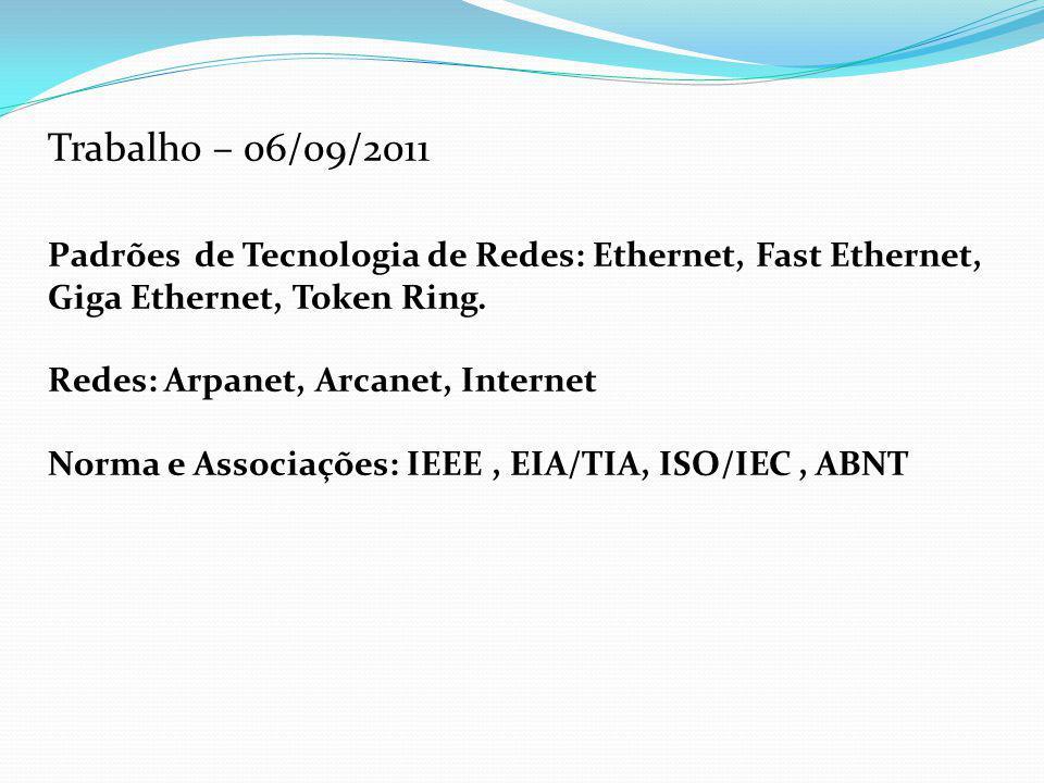Trabalho – 06/09/2011 Padrões de Tecnologia de Redes: Ethernet, Fast Ethernet, Giga Ethernet, Token Ring. Redes: Arpanet, Arcanet, Internet Norma e As