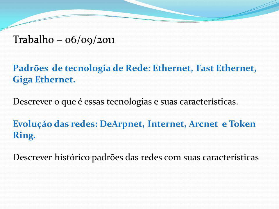 Trabalho – 06/09/2011 Padrões de tecnologia de Rede: Ethernet, Fast Ethernet, Giga Ethernet. Descrever o que é essas tecnologias e suas característica
