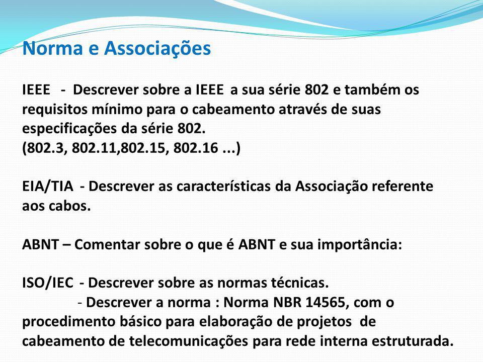 Norma e Associações IEEE - Descrever sobre a IEEE a sua série 802 e também os requisitos mínimo para o cabeamento através de suas especificações da sé