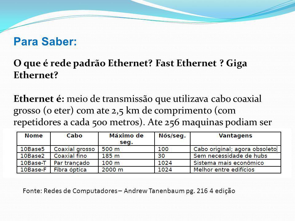 Para Saber: O que é rede padrão Ethernet? Fast Ethernet ? Giga Ethernet? Ethernet é: meio de transmissão que utilizava cabo coaxial grosso (o eter) co