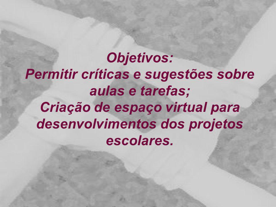 Objetivos: Permitir críticas e sugestões sobre aulas e tarefas; Criação de espaço virtual para desenvolvimentos dos projetos escolares.