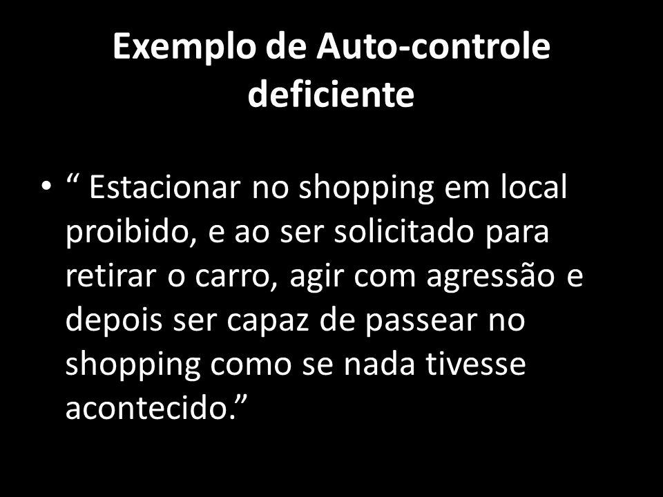 Exemplo de Auto-controle deficiente Estacionar no shopping em local proibido, e ao ser solicitado para retirar o carro, agir com agressão e depois ser