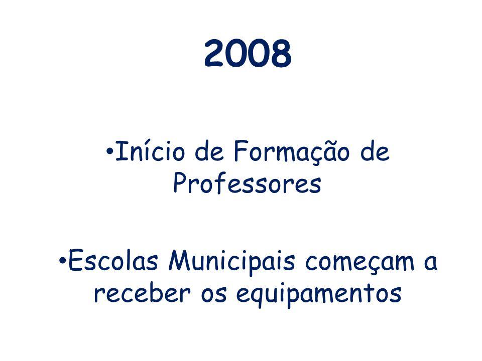 2008 Início de Formação de Professores Escolas Municipais começam a receber os equipamentos