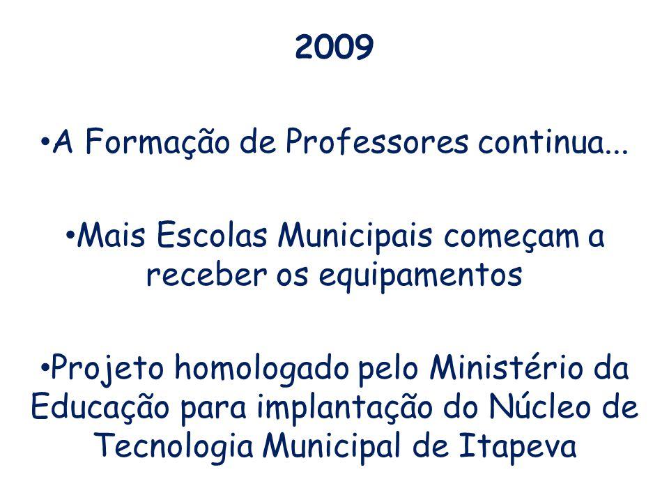 2009 A Formação de Professores continua... Mais Escolas Municipais começam a receber os equipamentos Projeto homologado pelo Ministério da Educação pa
