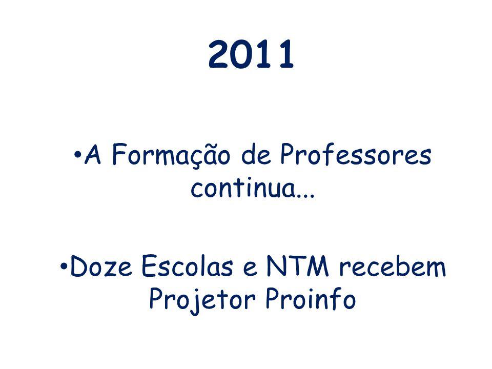2011 A Formação de Professores continua... Doze Escolas e NTM recebem Projetor Proinfo