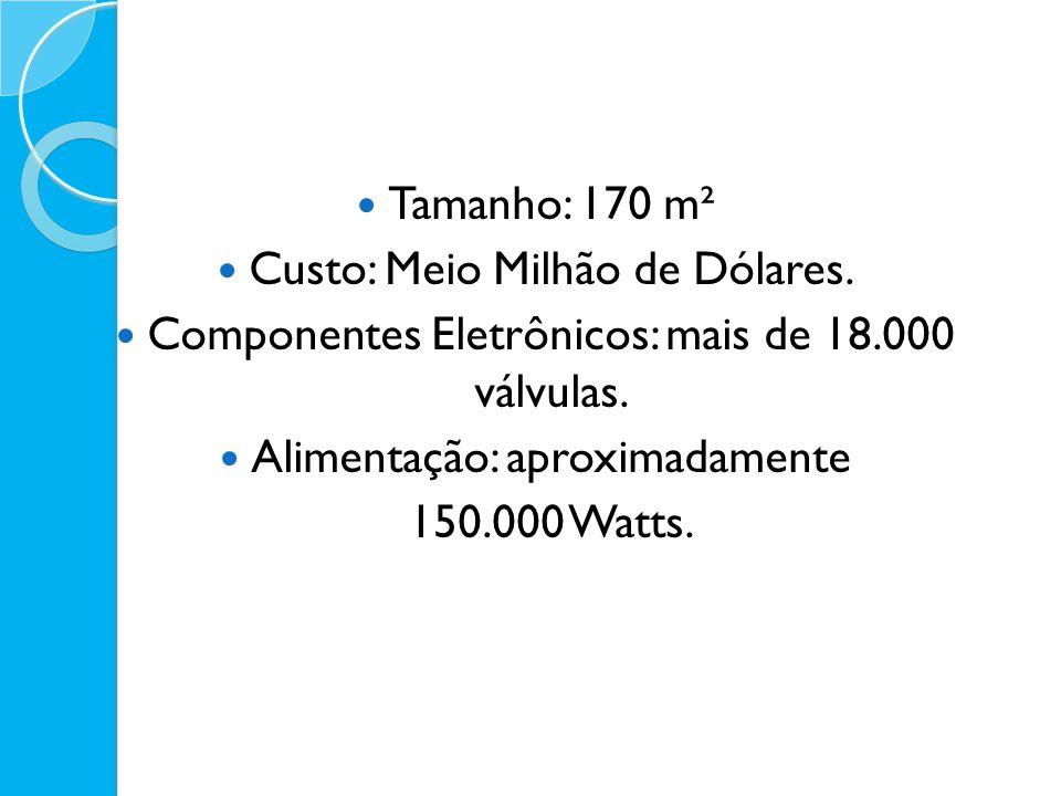 Tamanho: 170 m² Custo: Meio Milhão de Dólares. Componentes Eletrônicos: mais de 18.000 válvulas. Alimentação: aproximadamente 150.000 Watts.