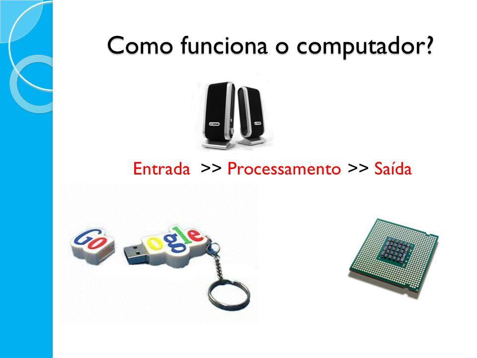 Como funciona o computador? Entrada >> Processamento >> Saída