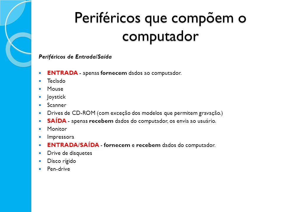 Periféricos que compõem o computador Periféricos de Entrada/Saída ENTRADA - apenas fornecem dados ao computador. Teclado Mouse Joystick Scanner Drives