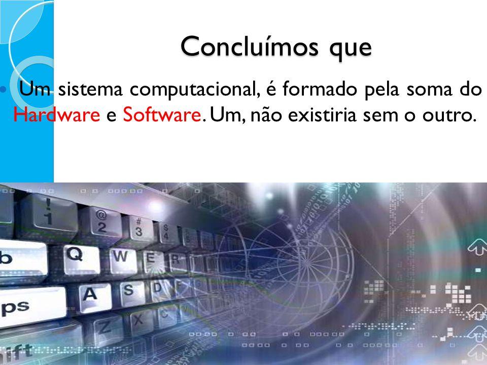 Concluímos que Um sistema computacional, é formado pela soma do Hardware e Software. Um, não existiria sem o outro.