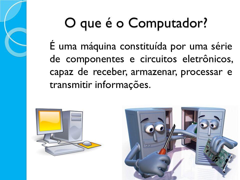O que é o Computador? É uma máquina constituída por uma série de componentes e circuitos eletrônicos, capaz de receber, armazenar, processar e transmi