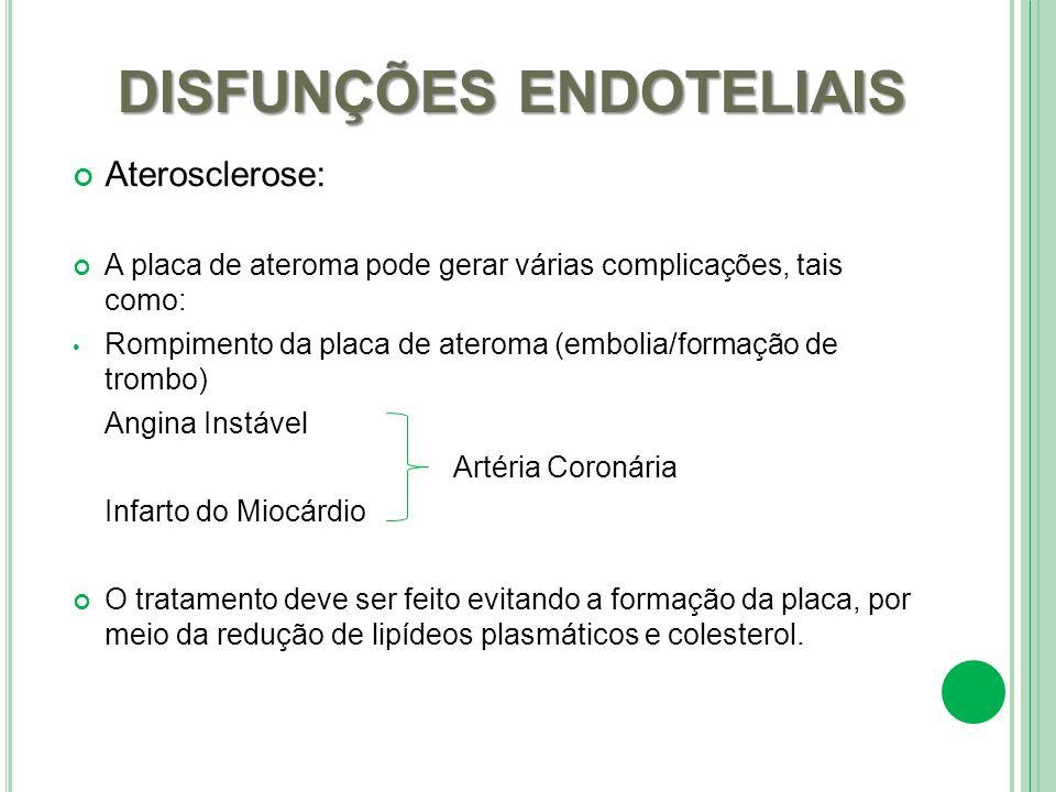DISFUNÇÕES ENDOTELIAIS Aterosclerose: A placa de ateroma pode gerar várias complicações, tais como: Rompimento da placa de ateroma (embolia/formação d