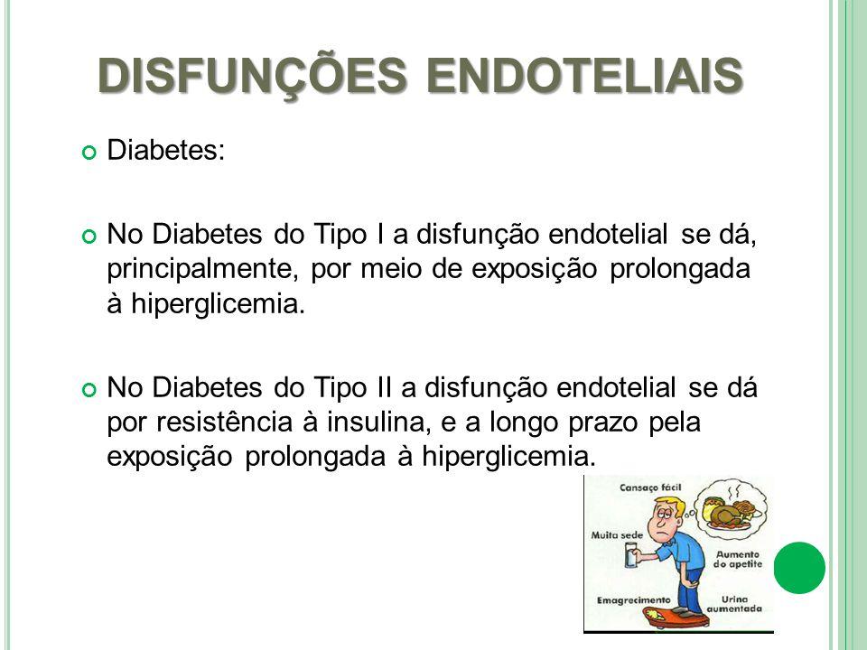 DISFUNÇÕES ENDOTELIAIS Diabetes: No Diabetes do Tipo I a disfunção endotelial se dá, principalmente, por meio de exposição prolongada à hiperglicemia.
