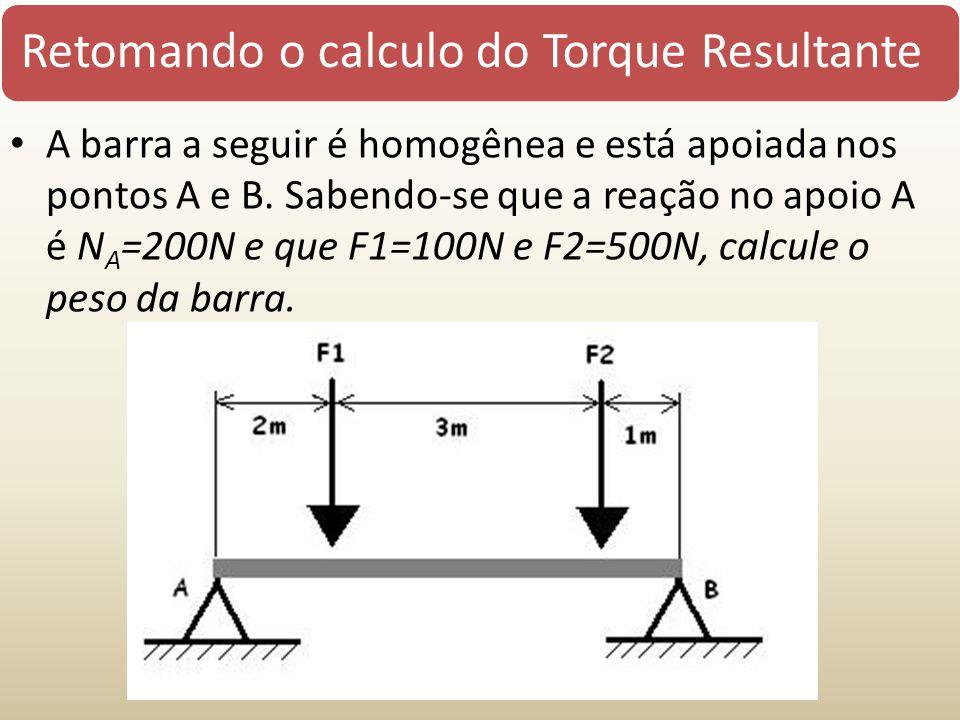 Retomando o calculo do Torque Resultante A barra a seguir é homogênea e está apoiada nos pontos A e B. Sabendo-se que a reação no apoio A é N A =200N