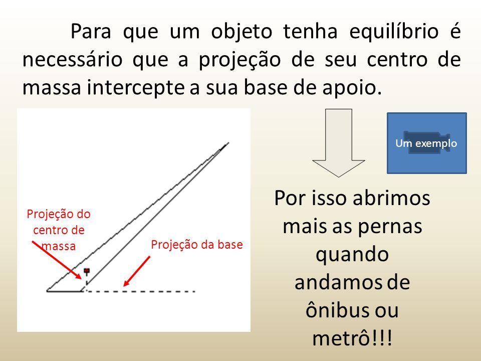 Por isso abrimos mais as pernas quando andamos de ônibus ou metrô!!! Para que um objeto tenha equilíbrio é necessário que a projeção de seu centro de