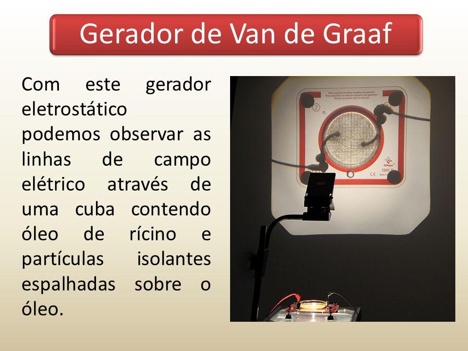 Com este gerador eletrostático podemos observar as linhas de campo elétrico através de uma cuba contendo óleo de rícino e partículas isolantes espalha