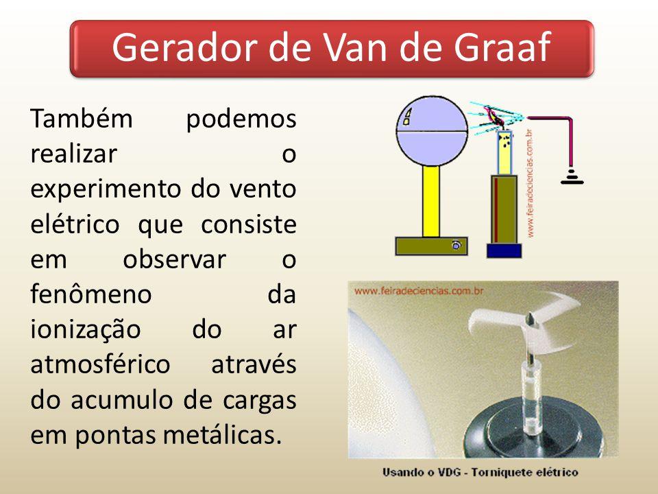 Também podemos realizar o experimento do vento elétrico que consiste em observar o fenômeno da ionização do ar atmosférico através do acumulo de carga