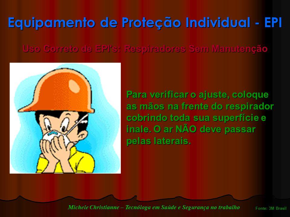Equipamento de Proteção Individual - EPI Uso Correto de EPI s: Respiradores Sem Manutenção Para verificar o ajuste, coloque as mãos na frente do respirador cobrindo toda sua superfície e inale.
