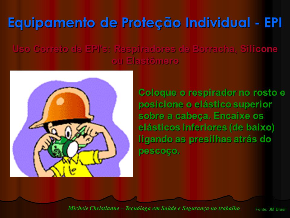 Equipamento de Proteção Individual - EPI Coloque o respirador no rosto e posicione o elástico superior sobre a cabeça.