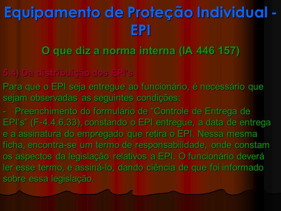 O que diz a norma interna (IA 446 157) 5.4) Da distribuição dos EPIs Para que o EPI seja entregue ao funcionário, é necessário que sejam observadas as seguintes condições: - Preenchimento do formulário de Controle de Entrega de EPIs (F-4.4.6.33), constando o EPI entregue, a data de entrega e a assinatura do empregado que retira o EPI.
