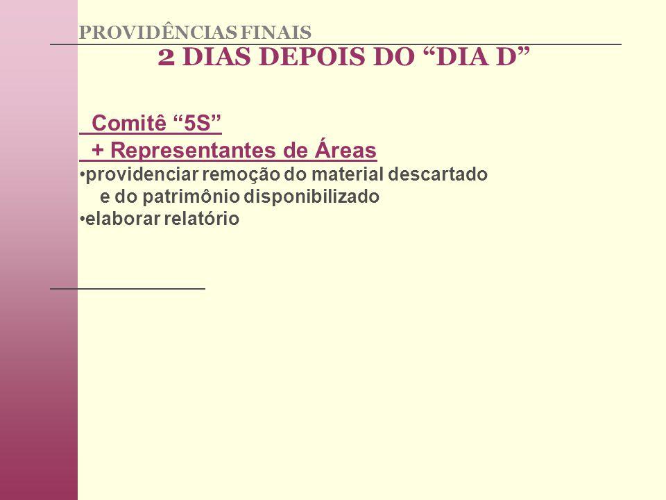 2 DIAS DEPOIS DO DIA D Comitê 5S + Representantes de Áreas providenciar remoção do material descartado e do patrimônio disponibilizado elaborar relatório PROVIDÊNCIAS FINAIS