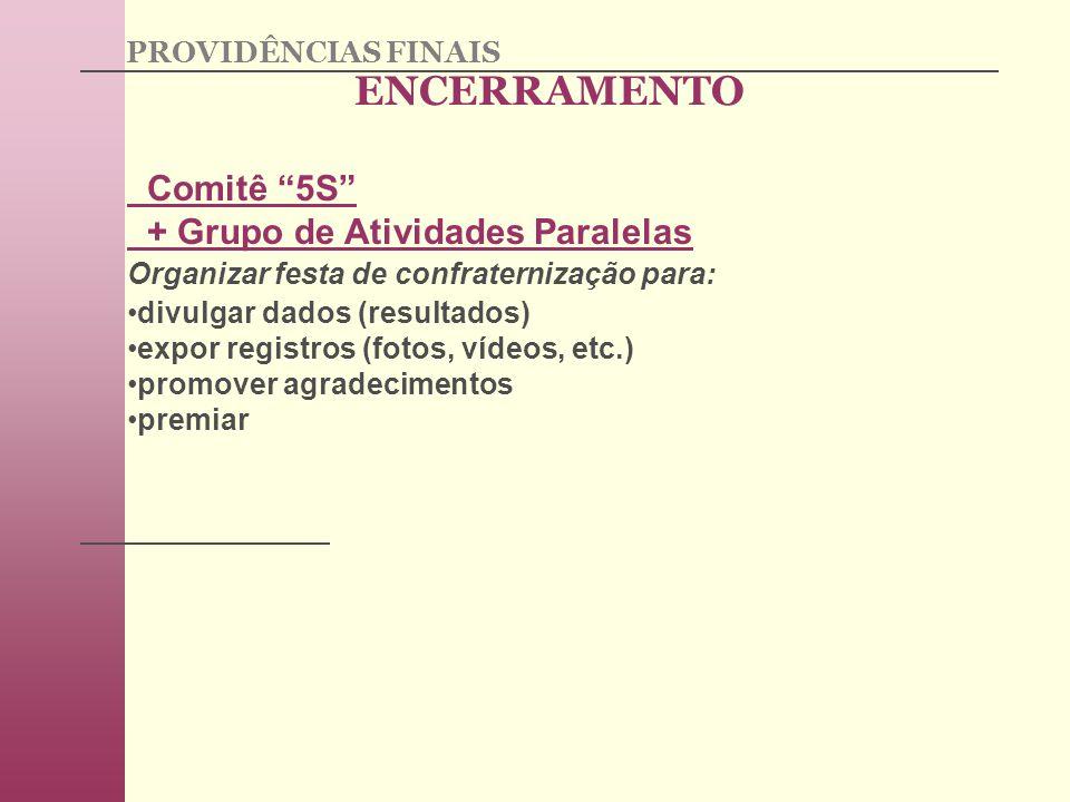 Comitê 5S + Grupo de Atividades Paralelas Organizar festa de confraternização para: divulgar dados (resultados) expor registros (fotos, vídeos, etc.) promover agradecimentos premiar ENCERRAMENTO PROVIDÊNCIAS FINAIS