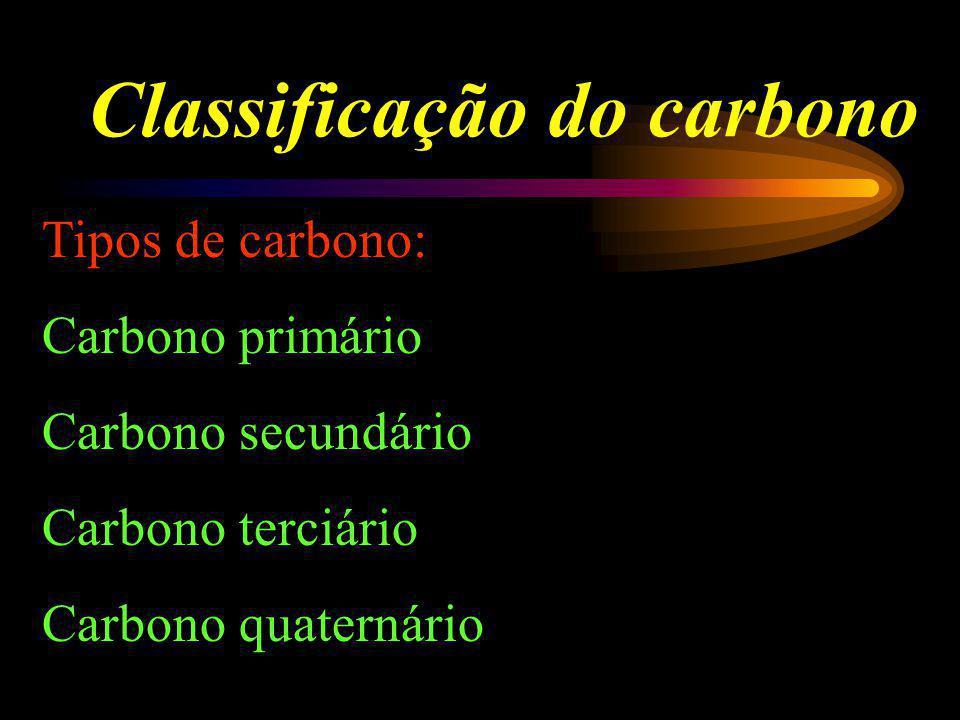 Classificação do carbono Tipos de carbono: Carbono primário Carbono secundário Carbono terciário Carbono quaternário