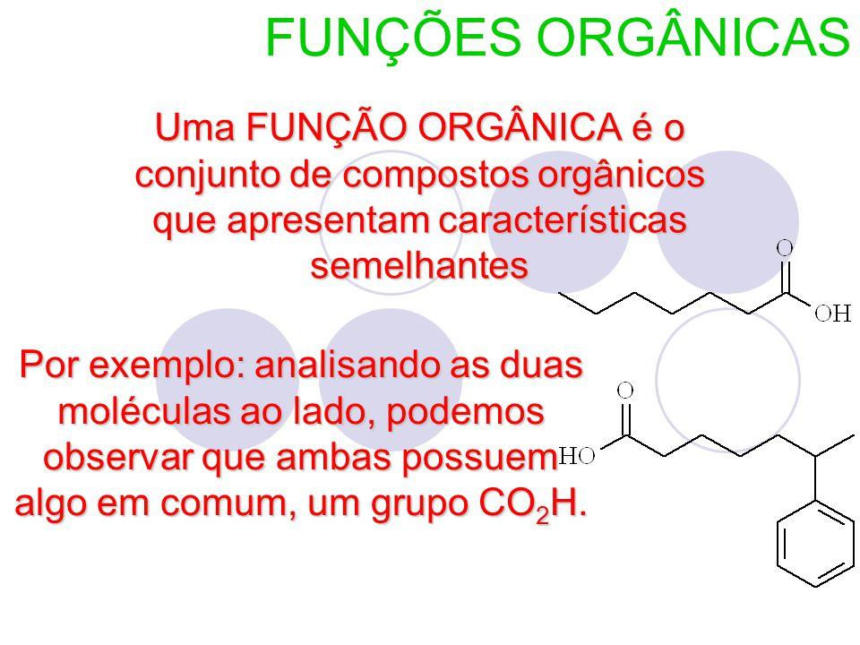 FUNÇÕES ORGÂNICAS Uma FUNÇÃO ORGÂNICA é o conjunto de compostos orgânicos que apresentam características semelhantes Por exemplo: analisando as duas moléculas ao lado, podemos observar que ambas possuem algo em comum, um grupo CO 2 H.