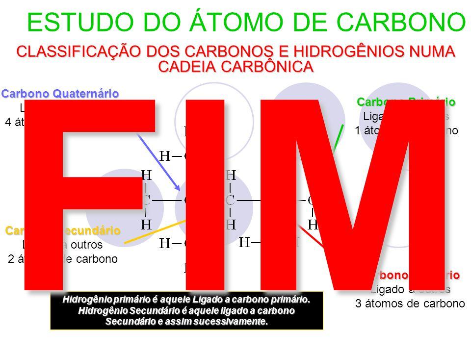 ESTUDO DO ÁTOMO DE CARBONO CLASSIFICAÇÃO DOS CARBONOS E HIDROGÊNIOS NUMA CADEIA CARBÔNICA Carbono Primário Ligado a apenas 1 átomo de carbono Carbono Terciário Ligado a outros 3 átomos de carbono Carbono Quaternário Ligado a outros 4 átomos de carbono Carbono Secundário Ligado a outros 2 átomos de carbono Hidrogênio primário é aquele Ligado a carbono primário.