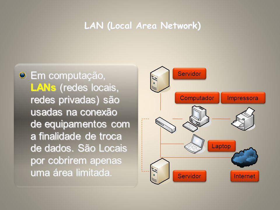 PAN (Personal Area Network) A Rede de Área Pessoal é formada por nós (dispositivos conectados à rede) próximos uns dos outros, em metros, com poucas chances de crescimento e uso apenas doméstico.