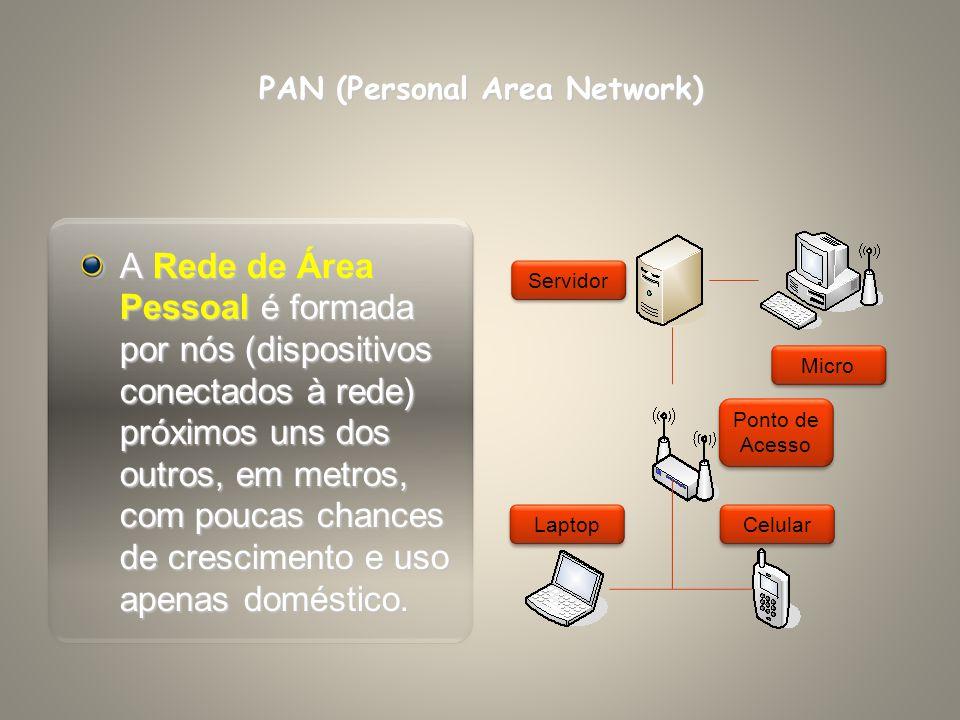 PAN (Personal Area Network) A Rede de Área Pessoal é formada por nós (dispositivos conectados à rede) próximos uns dos outros, em metros, com poucas c